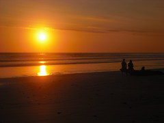 Watching the sun sink toward the horizon