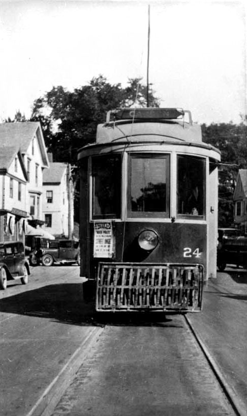 Rockland Thomaston and Camden Street Railway Car number 24 on Main St. Camden, Maine