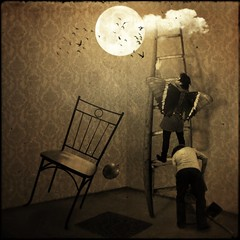 Try to Reach the Moon (Chopak) Tags: light boy moon texture sepia butterfly dark square chair dream surreal tenzin dreamcatcher 2b 500x500 darkcolors dreamwatcher stealingshadows 2bdasest