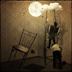 Try to Reach the Moon (Chopak) Tags: light boy moon texture sepia butterfly dark square chair dream surreal tenzin dreamcatcher 2b 500x500 darkcolors dreamwatcher stealingshadows 2bdasest