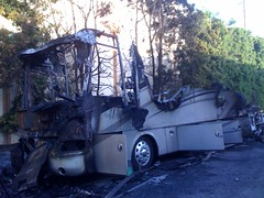 Charred Motorhome. Mandatory Credit: LAFD Photo by Harry Garvin. Click to view more...