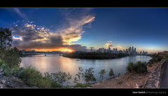 The Clouds ([ Kane ]) Tags: city bridge trees sunset sky sun storm tree water wall clouds canon river pano australia brisbane panoramic explore qld queensland kane brisbaneriver hdr stormclouds 2470 gledhill 50d 27exp kanegledhill humanhabits kanegledhillphotography