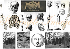 Haunted_Halloween_Collage_ (Kate Bangs) Tags: moon halloween collage wall digital vintage stones ghost tomb orb sheets bones skeletons