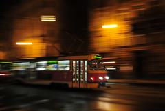 Schnellbahn (tonal decay) Tags: road red rot wet yellow night lights nacht tram prag praha gelb czechrepublic pan bahn lichter tatra mitzieher strasenbahn
