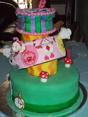 Alice in Wonderland (Sugar Mama NYC) Tags: nyc flowers clock cake mushrooms tea alice michelle mama sugar pot wonderland sculpted topsy fondant tiered turvy duquesnay sugarmamanyccom
