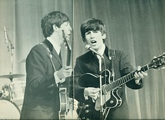 Paul and George (reinap) Tags: thebeatles 1963 paulmccartney georgeharrison byroyalcommand inthepresenceofthequeenmotherandprincessmargaretthebeatlesnovember4th theroyalcommandperformanceattheprinceofwalestheatreinlondon