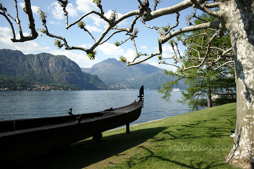 An iron gondola from Villa Melzi Gardens, Bellagio, Lake Como, Italy