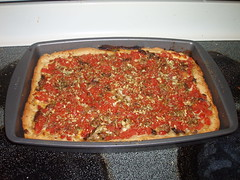 Homemade deep-dish pizza