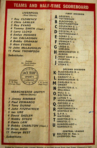 1970 - Liverpool FC vs. Manchester Utd Matchday Programme