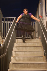Coming down for you (Fearless Photoworks) Tags: summer woman black stockings girl lady night stairs ruffles parkinglot purple boots parkinggarage stripes bbw vinyl skirt stairwell shorthair vest brunette lookingdown patentleather petticoat questioning territorial poofy