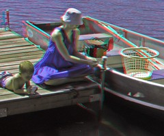 Watching the Fish (Anaglyph 3D) (patrick.swinnea) Tags: fish minnesota boat stereoscopic stereophoto 3d kid anaglyph fihing agatelake