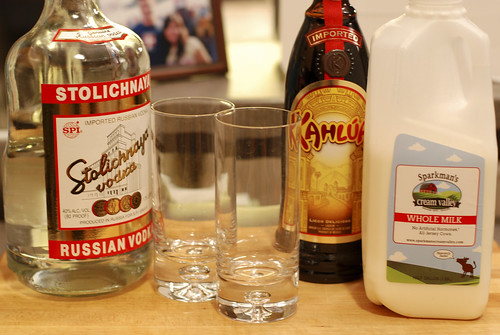 Ingredients: vodka, kahlua, whole milk.