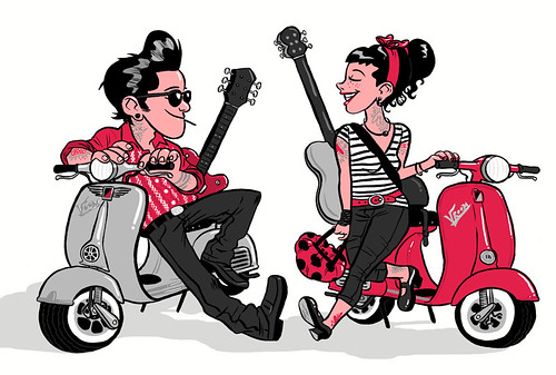 Rockabilly Vespa Couple