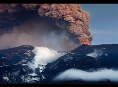 The Big Icemelter - Eyjafjallajkull Eruption (orvaratli) Tags: travel cloud mountain black ice trekking landscape island volcano lava iceland view south north steam atlantic glacier arctic ash lightning volcanic eruption sland magma katla icelandic spewing eyjafjallajkull eyjafjallajokull rmrk arcticphoto rvaratli orvaratli