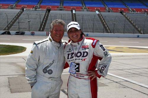 LPGA Golfer Kellie Kuehne goes for a two seater ride with Mario Andretti