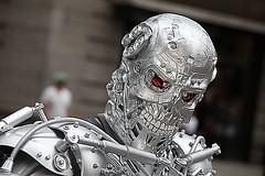 Brooklyn Terminator exoskeleton (Brooklyn RobotWorks) Tags: nude robot cosplay arnold exoskeleton cyborg terminator t2 t800 endoskeleton zoesaldana peterkokis brooklynrobotworks brooklynterminator