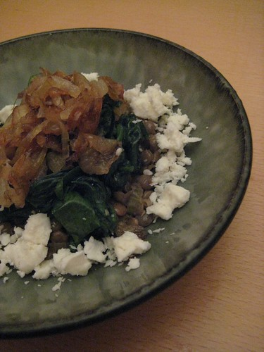 Lentils with Caramelized Onions and Gingery Spinach