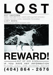 LOST UNICORN (Iain Burke) Tags: new nyc newyorkcity horse newyork silly art glitter last paper poster fun lost typography design graphicdesign wooden flyer joke magic text humor arts fake charlie type iain horn february ark unicorn 2008 reward 2009 flier shockvalue lastofhiskind iainburke lostunicorn octopocalypse iainvandoucheberg vandoucheberg