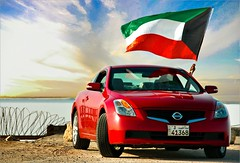 (Soud Al - Dyouli) Tags: red car nikon nissan 26 flag national 25 kuwait feb altima coupe d2h q8 moter kwt soud thechosenone  aplusphoto  q8moter
