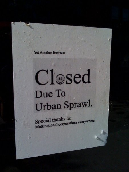 yet another business closed due to urban sprawl