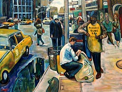 HONEY BUNS, MK's 200th Oil Painting (The Big Jiggety) Tags: city nyc people usa newyork art cars yellow america painting manhattan cab taxi taxis peinture midtown rush oil tableau cabs pintura huile mailman frenzy abigfave blueribbonphotograph