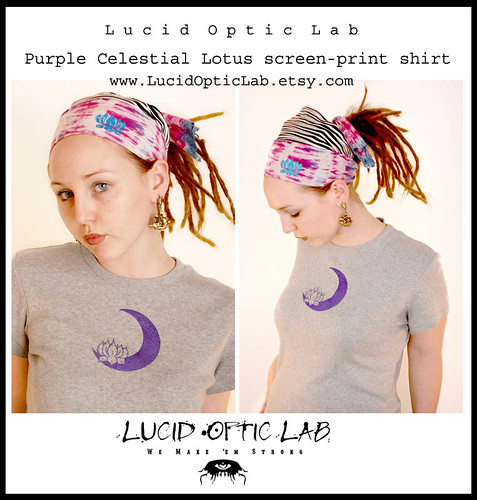 Purple Celestial Lotus screen-print shirt