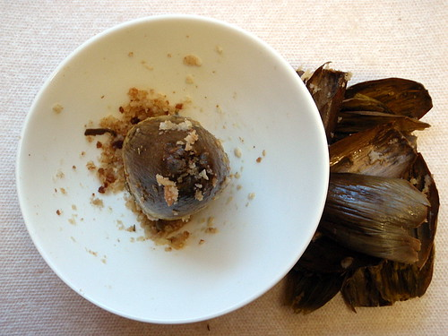 The remains of my stuffed artichoke