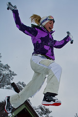 Jumping from roof (Joaaso) Tags: winter snow out fun outdoors vinter cabin anette ute sn lightroom hytte hyttetur norefjell sigma30mmf14exdchsm utendrs canoneos450d baseisnen