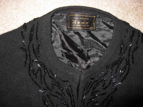sweater hems black cashmere with beads tag