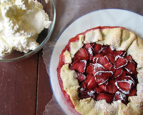 strawberry galette and cream