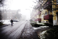Vstertorp (Ola Jacobsen) Tags: street winter urban woman white fog lumix interesting sweden stockholm walk panasonic explore cameras sverige 7days hgersten vstertorp lx3 dmclx3 panasoniclumixdmclx3