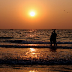 Love (JannaPham) Tags: ocean sunset sea vacation sun love beach water birds silhouette sunrise canon boats eos golden couple south goa lovers romantic lovely project365 majorda 40d 54365 jannapham mindigtopponalwaysontop