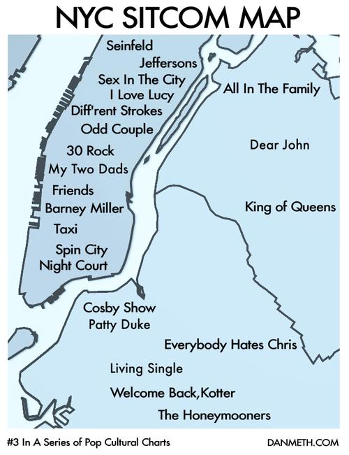 http://danmeth.com/  Dan Meth NYC Sitcom Map