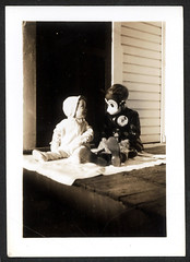 Mouse Kid & Baby (Brechtbug) Tags: my dad wearing mickey mouse halloween costume sitting next his baby sister circa 1937disneymy 1937disney vintage disney 1939 kid detail