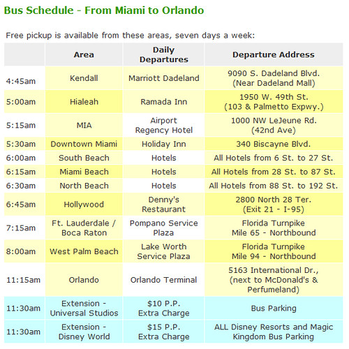 Miami to Orlando Schedule