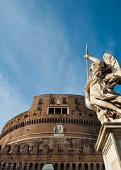 Castel Sant'Angelo (Sean Molin Photography) Tags: city sky rome roma castle beautiful statue soldier italia european roman fort fortress epic gladiator mediteranian stangelcastle vacationeuropeitalyrome2009marchvacationitalli vacationeuropeitalyrome2009marchvacationitallian seanmolin wwwseanmolincom