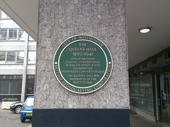 Photo of Henry Wood, Queen's Hall, and The Promenade Concerts green plaque