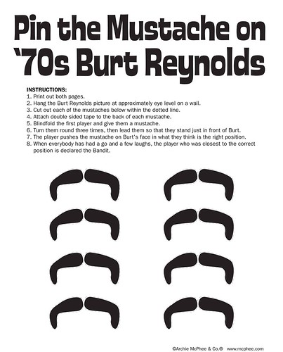 Pin the Mustache on '70s Burt Reynolds - Instructions