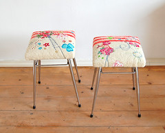 stools (ATLITW) Tags: pink flowers red colour home vintage happy cross embroidery textile blanket dreams stool eclectic thrifted brabantia