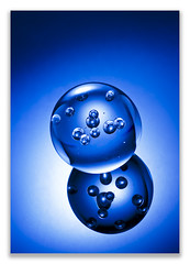 Blue worlds (Bald Monk) Tags: world blue robert glass colors photography colours photographer bald orb bubbles monk rob tunstall strobist objectsglass