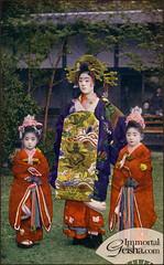 Tayuu of Shimabara (Naomi no Kimono Asobi) Tags: japan vintage japanese photo kyoto antique postcard prostitute photograph courtesan shimabara vintagephotograph tayu rppc kamuro tayuu