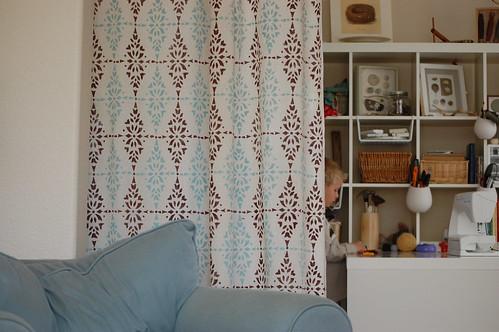 hung:: handprinted curtains