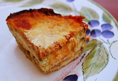 Eggplant ricotta bake slice