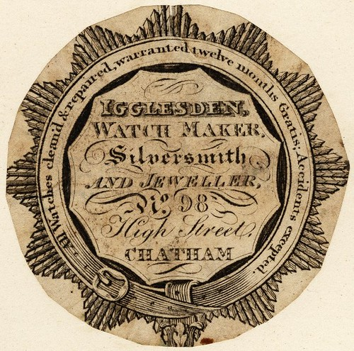 Igglesden Watchmaker, Chatham - garter-belt border enclosing inscription