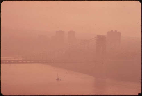 Heavy air pollution blocks view of New Jersey shoreline and George Washington Bridge