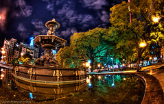 A late night walk to the hotel in Buenos Aires (MDSimages.com) Tags: world city travel trees sky urban sculpture southamerica water fountain argentina stone architecture night digital buildings photography blog buenosaires nikon media quiet walk capital processing greater metropolitan hdr highdynamicrange placid riodelaplata travelphotography photomatix ciudadautnomadebuenosaires granbuenosaires hdrsky argentinerepublic michaelsteighner mdsimages hyliteproductions photomike07 mdsimagescom hylitecom