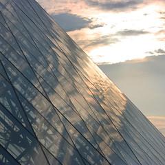 Louvre Reflections {EXPLORED!} (edwardkb) Tags: sunset paris france reflection glass canon 50mm dusk louvre louvrepyramid 400d digitalrebelxti