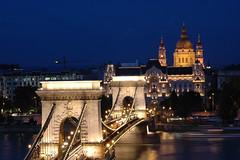 Chain Bridge at Night (WrldVoyagr) Tags: city bridge reflection church night river hungary basilica capital budapest duna danube ststephens donau magyarország chainbridge istván dopplr:explore=53c1