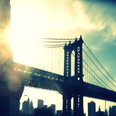 Manhattan Bridge(for sale on my website) (Manhattan Girl) Tags: sunlight brooklyn clouds square crossprocess sunflare retrovintage dumbobklyn