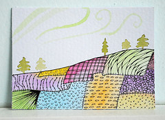 ATC Quilted Landscape (Windowfog) Tags: trees india green art atc pine ink watercolor landscape sketch colorful artist quilt stitch personal farm patterns card aceo trading 25 faux 35 trade cardstock zentangle